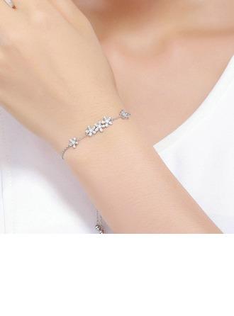 Geplatineerd Schakelketting Bruids armbanden Bolo armbanden met Bloem - Valentijnsgeschenken Voor Haar