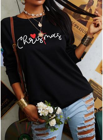 Druck Figur Rundhalsausschnitt Lange Ärmel Weihnachts-Sweatshirt