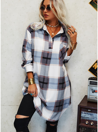 Plaid Shift Long Sleeves Mini Casual Shirt Dresses