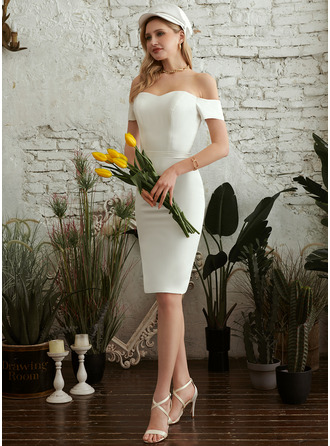 Sheath/Column Off-the-Shoulder Knee-Length Wedding Dress
