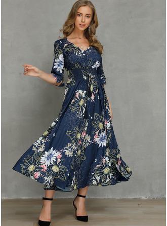 Floral Print A-line 1/2 Sleeves Maxi Elegant Skater Dresses