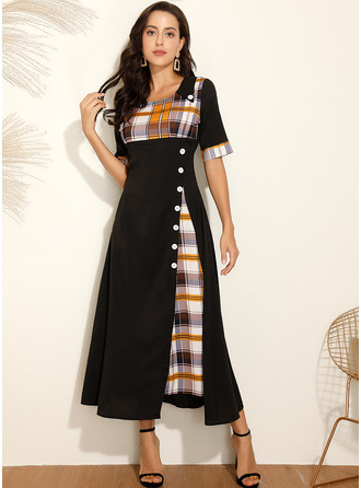 Maxi Round Neck Polyester Button/Plaid 1/2 Sleeves Fashion Dresses