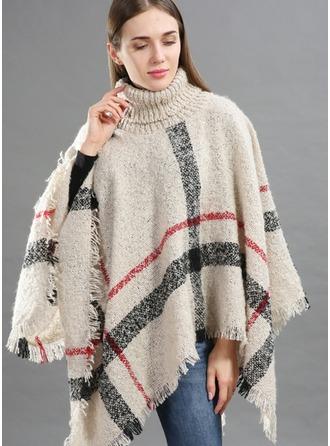 Tela escocesa de gran tamaño/Clima frío La lana artificial Poncho