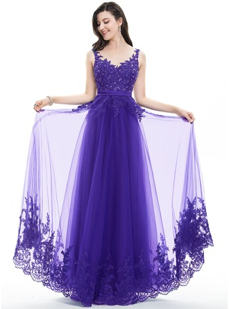 A-Line/Princess V-neck Floor-Length Tulle Lace Prom Dress With Beading Sequins Bow(s)