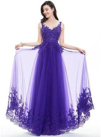 Corte A/Princesa Escote en V Hasta el suelo Tul Encaje Vestido de baile de promoción con Cuentas Lentejuelas Lazo(s)
