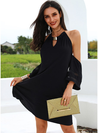 Solid Shift 1/2 Sleeves Cold Shoulder Sleeve Mini Little Black Casual Tunic Dresses