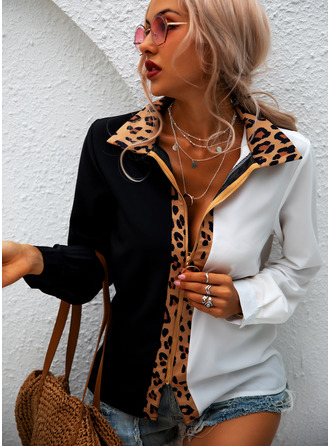 Leopard Color Block Patchwork Lapel Long Sleeves Casual Shirt Blouses