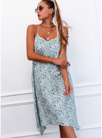 Floral Print Shift Sleeveless Midi Casual Type Dresses