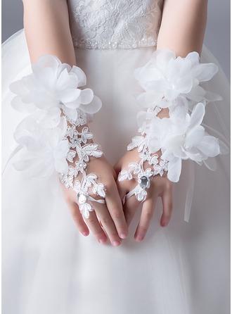Encaje con Crystal/Flor Longitud de la muñeca del guante