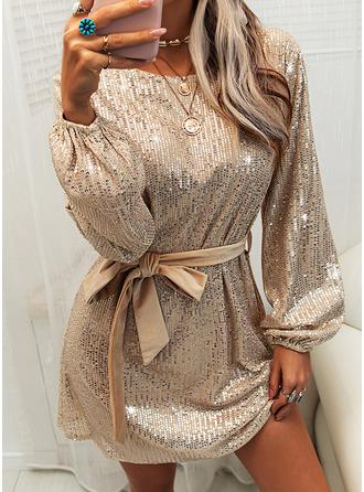 pailletter Solid Skede Lange ærmer Mini Party Mode kjoler