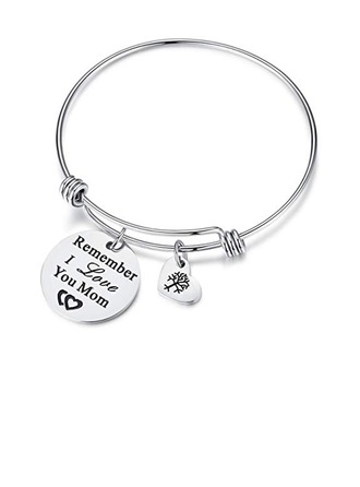 Custom Silver Bangle Engraved Bracelets With Heart