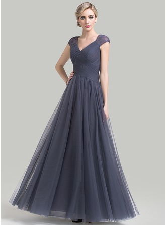 Vestidos princesa/ Formato A Decote V Longos Tule Vestido para a mãe da noiva com Pregueado Renda
