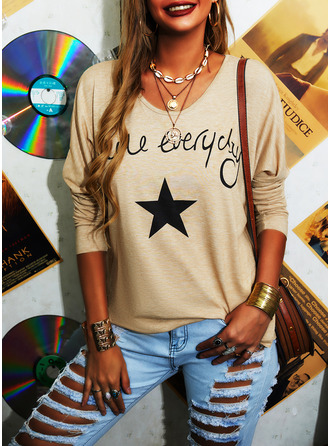 Figure Print V-Neck Long Sleeves Casual T-shirt (1003250669)