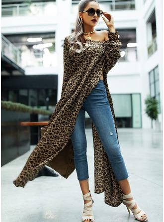 Leopard Shiftklänningar Långa ärmar Maxi Fritids Modeklänningar