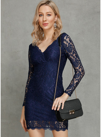 Knee Length V neck Lace Lace Long Sleeves Fashion Dresses