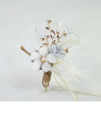 Mädchenhaft Mid Hand Gebunden Satin/Metall/Leinseile Armbandblume - Armbandblume