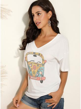 Print 1/2 Sleeves Polyester V Neck T-shirt Blouses