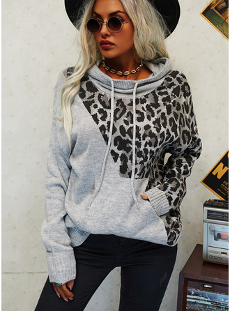 Hooded Casual Leopard Color Block Pocket Sweaters