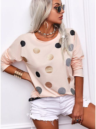 PolkaDot Round Neck Long Sleeves Casual T-shirt