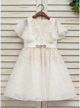 A-Line/Princess Knee-length Flower Girl Dress - Short Sleeves Scoop Neck With Lace