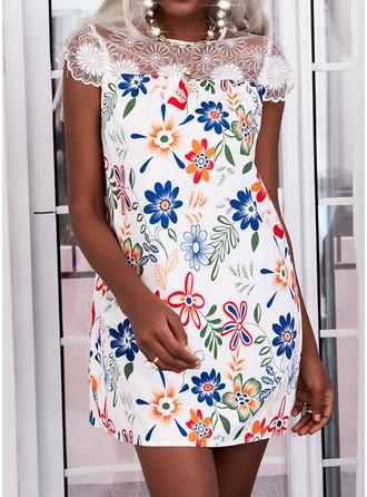 Floral Lace Print Shift Cap Sleeve Mini Elegant Tunic Dresses