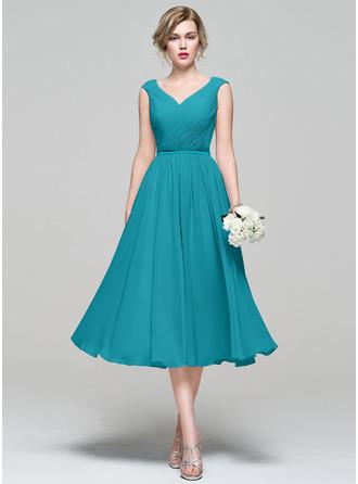 A-Line V-neck Tea-Length Chiffon Bridesmaid Dress With Ruffle