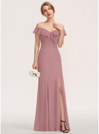 Sheath/Column Off-the-Shoulder Floor-Length Chiffon Bridesmaid Dress With Split Front Cascading Ruffles