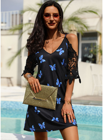 Animal Print Lace Shift 1/2 Sleeves Cold Shoulder Sleeve Mini Casual Tunic Dresses