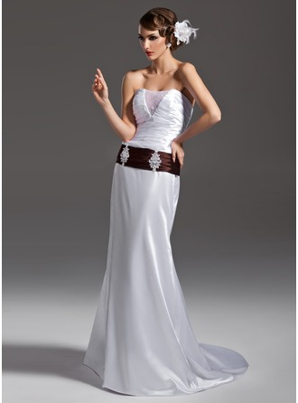 Trumpet/Mermaid Strapless Court Train Charmeuse Wedding Dress With Ruffle Sash Beading