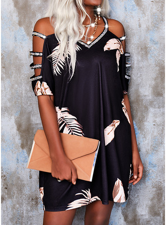 Print Sequins Shift 1/2 Sleeves Mini Casual Tunic Dresses