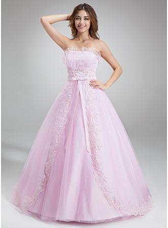 Платье для Балла Волнистый Церковный шлейф Тюль Пышное платье с Рябь Бисер аппликации кружева