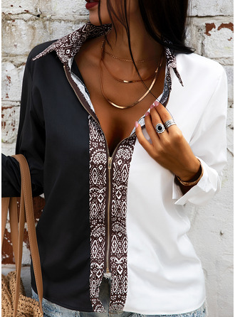 Color Block Print Lapel Long Sleeves Casual Shirt Blouses