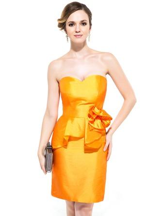Sheath/Column Sweetheart Knee-Length Taffeta Cocktail Dress With Flower(s) Cascading Ruffles
