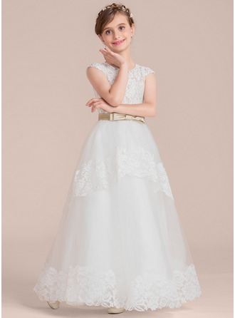 Scoop Neck Floor-Length Tulle Lace Junior Bridesmaid Dress With Sash Bow(s)