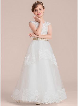 Duchesse-Linie U-Ausschnitt Bodenlang Tüll Lace Kleid für junge Brautjungfern mit Schleifenbänder/Stoffgürtel Schleife(n)