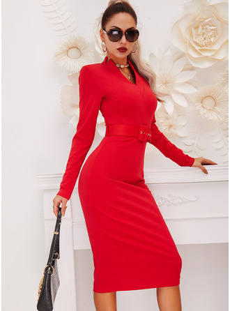 Solid Bodycon Long Sleeves Midi Little Black Elegant Pencil Dresses
