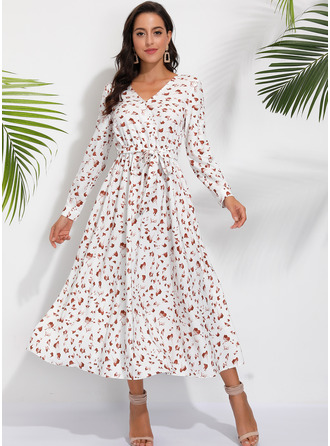 Midi V neck Polyester Print Long Sleeves Fashion Dresses