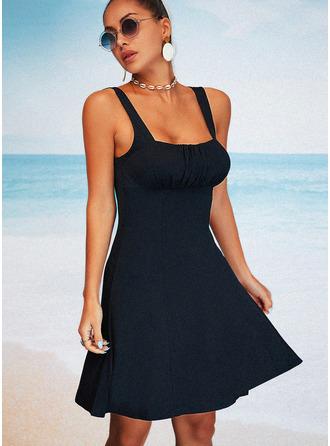 Couleur Unie Fourreau Sans Manches Mini Petites Robes Noires Décontractée Vacances Haut De Tankini Robes tendance