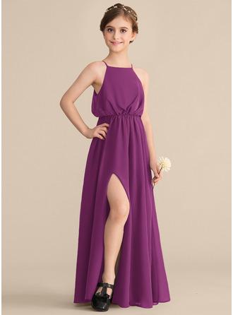 A-linjainen Square Pääntie Lattiaa hipova pituus Sifonki Nuorten morsiusneito mekko jossa Halkio edessä