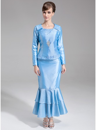 Trumpet/Mermaid Scoop Neck Ankle-Length Taffeta Mother of the Bride Dress With Beading Sequins