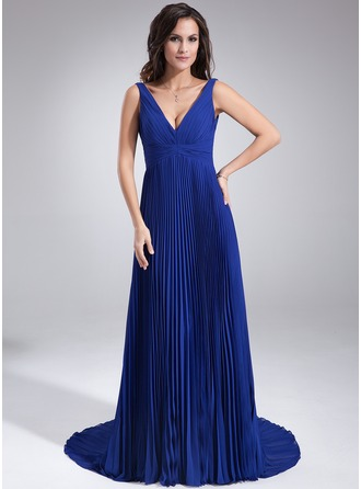 A-Line/Princess V-neck Court Train Chiffon Holiday Dress With Pleated
