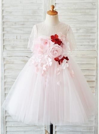 Robe Marquise/Princesse Longueur genou Robes à Fleurs pour Filles - Tulle/Dentelle Manches courtes Col rond