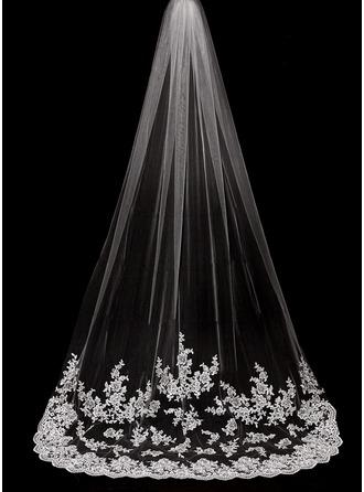 1 couche Bord en dentelle Voiles de mariée cathédrale avec Motif appliqué