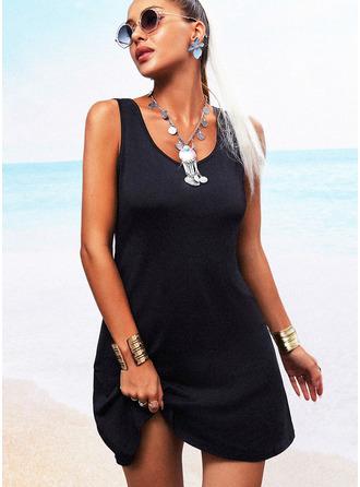 Einfarbig Rückenfrei Etui Ärmellos Mini Kleine Schwarze Lässige Kleidung Urlaub Modekleider