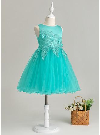 Çan Diz Hizası Çiçek Kız Elbise - Saten/Tül/Dantel Kolsuz Yuvarlak Yaka Ile Çiçek(ler)