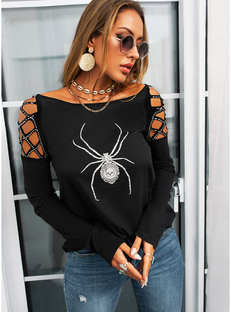 Animal Print Cold Shoulder Long Sleeves Halloween Casual Blouses