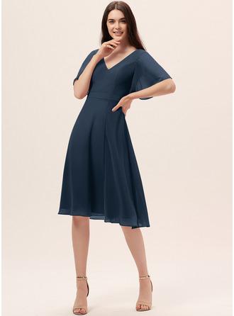 A-Line V-neck Knee-Length Chiffon Bridesmaid Dress With Split Front