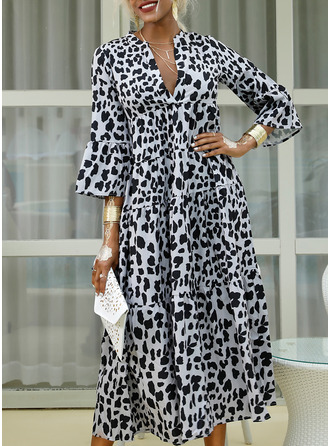 Leopard Shift 3/4 Sleeves Flare Sleeve Maxi Casual Dresses