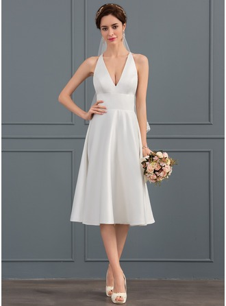 A-Line V-neck Knee-Length Satin Wedding Dress