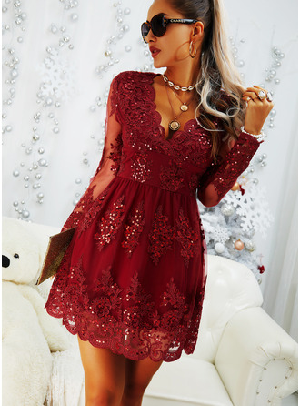 Lace Solid A-line Long Sleeves Midi Party Elegant Skater Dresses